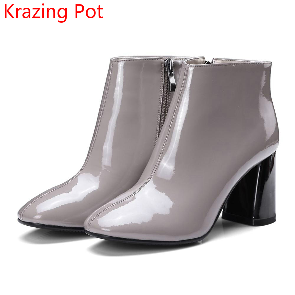 2018 New Arrival Patent Leather Fashion Winter Boots Zipper Thick Heels Handmade Concise Party Office Lady Women Ankle Boots L03 2018 new arrival genuine leather fashion boots thick heel winter shoe motorcycle boots rivets party runway women ankle boots l09