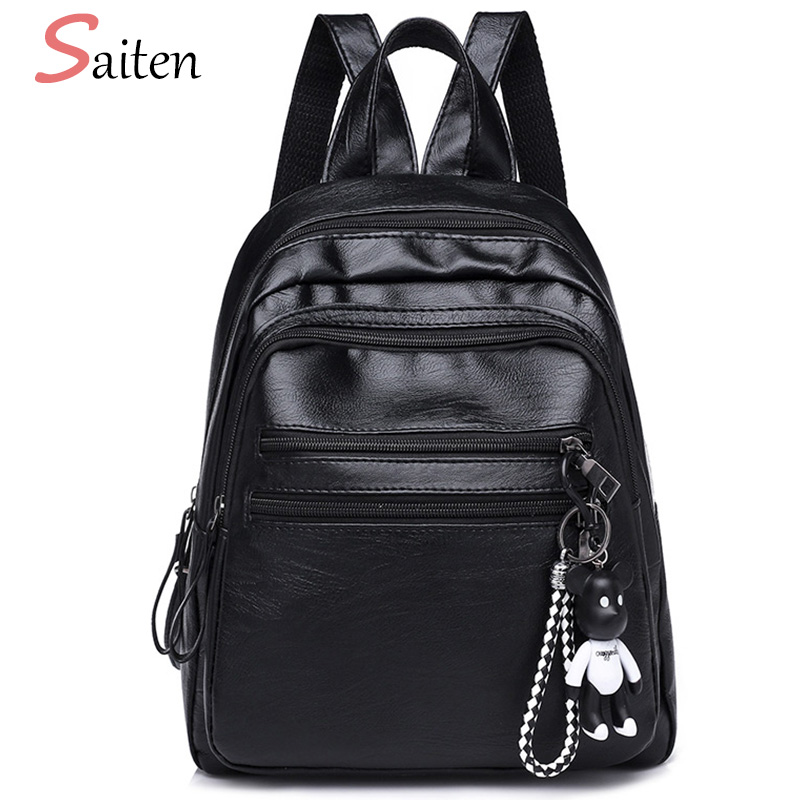 Cute Bear Women Backpack Female Black Backpacks High Quality PU Leather School Bags For Girls Fashion Double Ladies Rucksacks 2016 fashion women waterproof pu leather rivet backpack women s backpacks for teenage girls ladies bags with zippers black bags