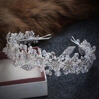 Handmade Crystal Rhinestone Bride Bridal Hair Accessories Head Jewelry Silver Head Pieces Headbands Vintage Leaf Tiara