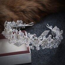 Handmade Crystal Rhinestone Bride Bridal Hair Accessories Head Jewelry Silver Color Head Pieces Headbands Vintage Leaf Tiara