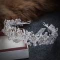 Handmade Crystal Rhinestone Bride Bridal Hair Accessories Head Jewelry Silver Head Pieces Headbands Vintage Leaf Tiara