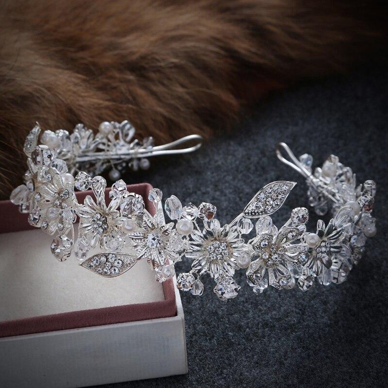 Prix pour Main Cristal Strass Mariée De Mariée Cheveux Accessoires Tête Bijoux Argent Couleur Tête Pièces Bandeaux Vintage Feuille Tiara