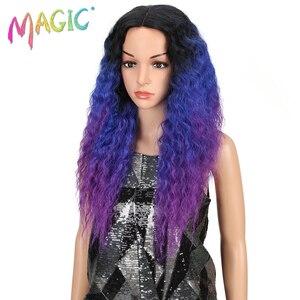 Image 2 - Pelucas de pelo largo negro y morado con encaje frontal para mujeres negras, pelucas de pelo sintético con encaje frontal de 26 pulgadas, resistente al calor