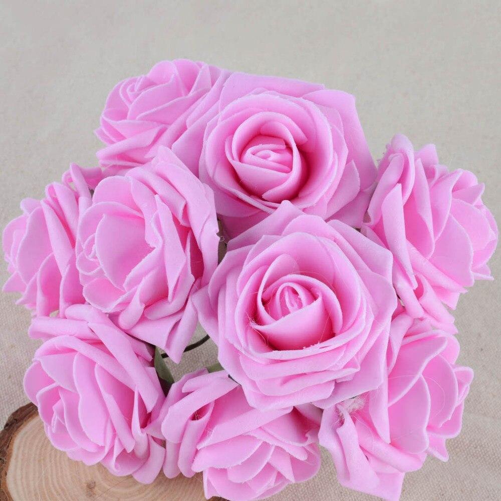 50 teile/paket Farbecht Schaum Rosen Künstliche Blume Hochzeit Braut Bouquet Party Decor DIY Blume Y1