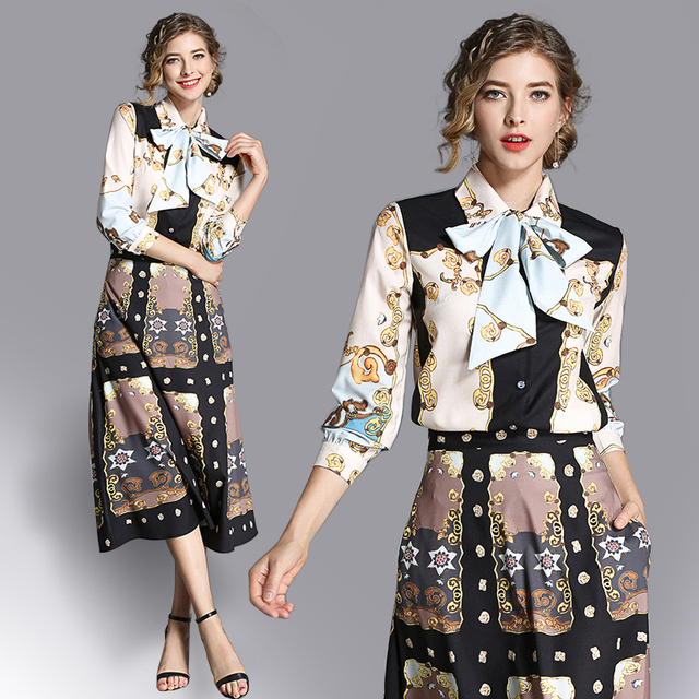 ed52d503b44e8 Aliexpress.com : Buy New 2018 Fashion Runway Designer Summer Dress Women's  bow tie up Vintage print Dress from Reliable Dresses suppliers on Amezaiku  ...