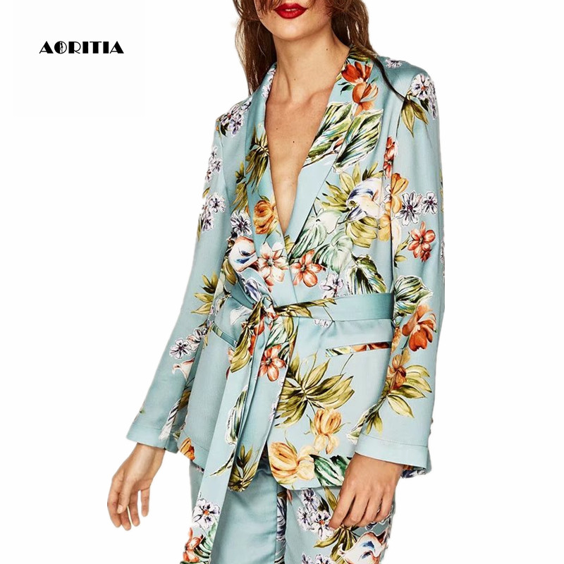 2019 Women Blazer Style Floral Print Two Piece Set Women Coat Set Long  sleeve Tops Trousers Sets-in Women s Sets from Women s Clothing on  Aliexpress.com ... 1f601a8a1f