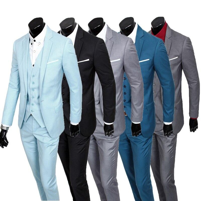 ( Jackets + Vest + Pants ) New 2018 Fashion Boutique Pure Color Groom Wedding Dress Suits Men Slim Formal Business Blazer Suits