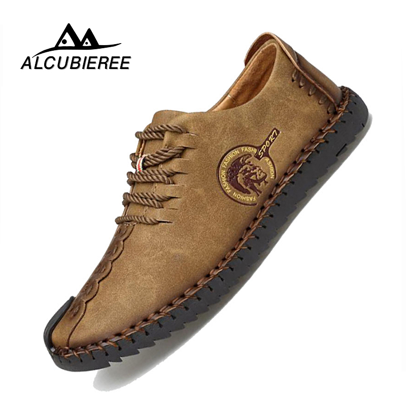 2019 Summer Leather Casual Shoes Men Handmade Vintage Shoes Flats Lace-up Hot Sale Moccasins Chaussure Homme Big Size 38-46
