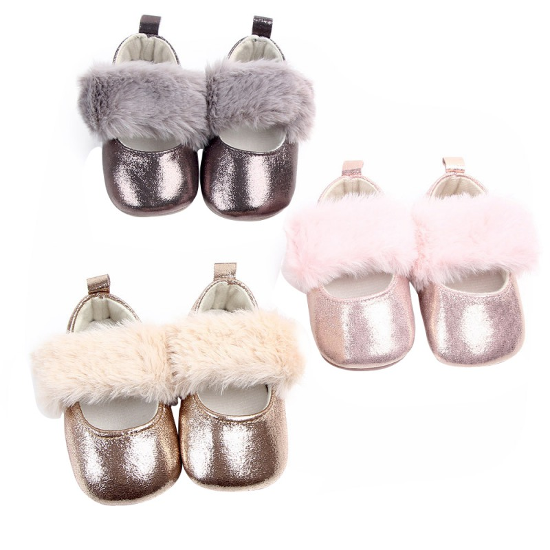 Fashion Faux Fur Baby Shoes AUTUMN Cute Infant Baby Girls Shoes First Walkers Soft Sole Indoor Princess Shoes For 0-18M