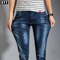 2016 SYT Cuatro Estaciones estilo Hombres Elasticidad Jeans Nueva Moda Casual Jeans Rectos Delgados Cintura Suelta Pantalones Largos S6CJ066