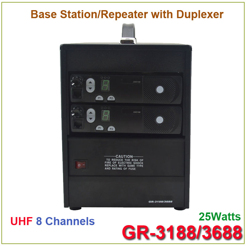 Brand New GR-3188/3688 Two-way Radio Base Station/ Repeater UHF 403-470MHz 25Watts 8 Channels with Duplexer(for motorola)Brand New GR-3188/3688 Two-way Radio Base Station/ Repeater UHF 403-470MHz 25Watts 8 Channels with Duplexer(for motorola)