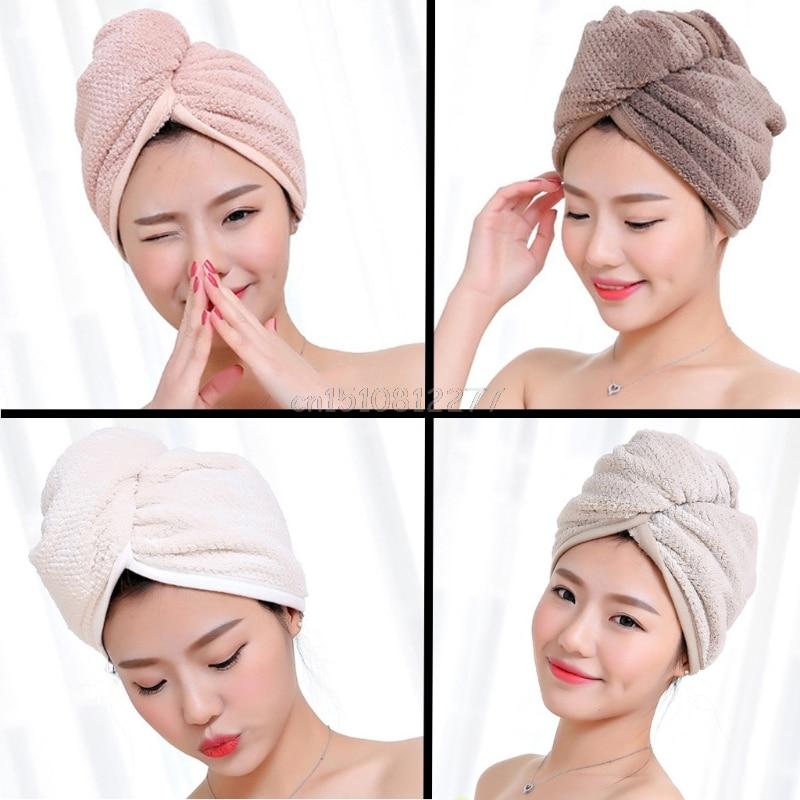 Magia rápida secador de cabelo de microfibra secagem rápida toalha envoltório turbante banho chapéu boné # h0vh # transporte da gota