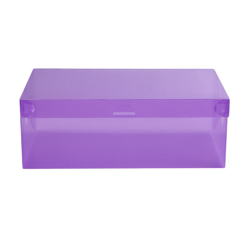 Candy Color Clear Plastic Shoes Case Storage Box Container Stackable Organizer Purple