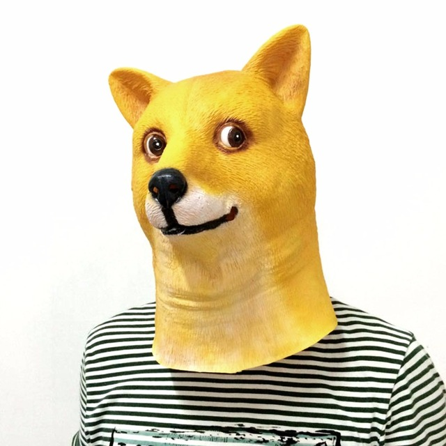 top grade creepy doge crazy dog mask funny halloween cosplay adult latex halloween christmas party carnival - Christmas Doge