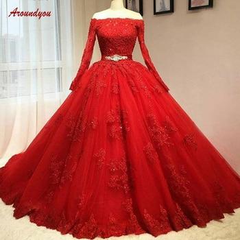 a4d82c118dd Rojo de manga larga vestidos de Quinceañera de bola vestido de encaje de  hombro de Debutante dulce 16 vestido vestidos de 15 años