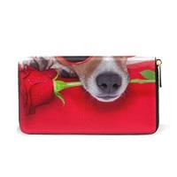 Dog&Rose Girls Leather Wallet Women Zipper Long Card Holder Wallet Female Genuine Leather Money Bag for Girls Coin Purse Gift