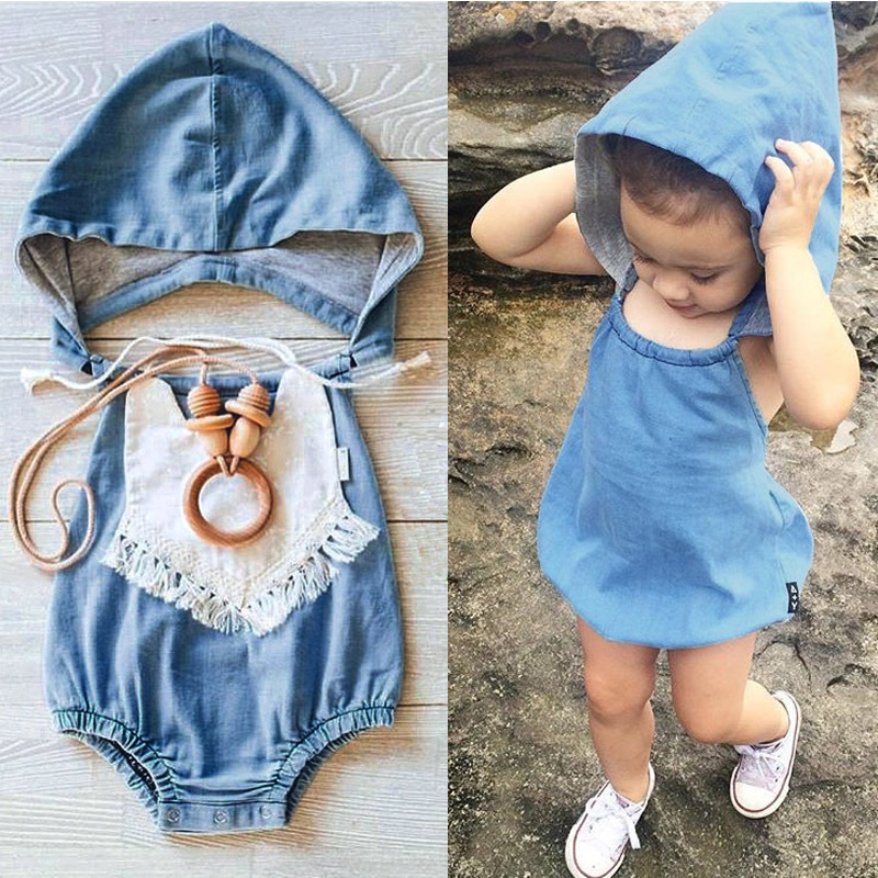 65e1a83500f6 Nicoevaropa 2017 New Fashion Girls Romper baby kids denim backless jumpsuit  with hoody casual infant clothes