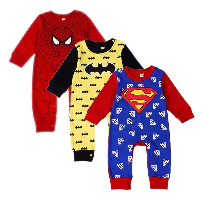 New Style Baby Boy   Romper   Newborn Baby Clothes Cute Hero Style Superman Batman Spider-man Captain America Bebe 1pcs HB032