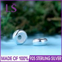 LS 2pcs/lot High Quality Stopper Beads With Silicon Authentic 925 Sterling Silver Bead Fit Bracelets Bangles DIY Fine Jewelry