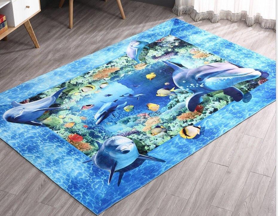 Blauwe Vloerbedekking Slaapkamer : Multi size 3d dolfijn tapijt slaapkamer decoreren zachte vloer