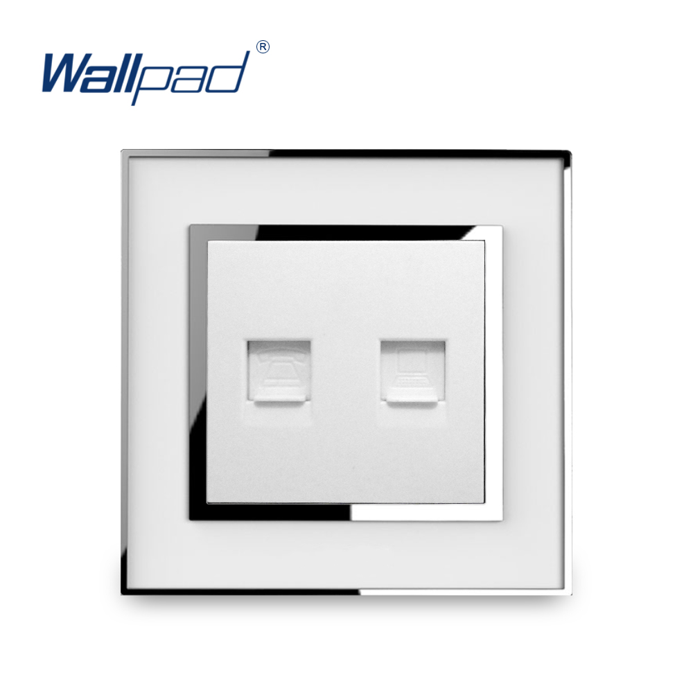 Telephone & Data Socket RJ45 Wallpad Luxury Wall Electric Phone Compunter Network Outlet Mirror Acrylic Panel TomadaTelephone & Data Socket RJ45 Wallpad Luxury Wall Electric Phone Compunter Network Outlet Mirror Acrylic Panel Tomada