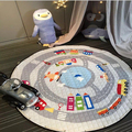 2016 Kids Game Mats Baby Crawling Blanket Cotton Chilren Padded Play Mat Round Racing Games Carpet Play Rug Kids Room Decoration