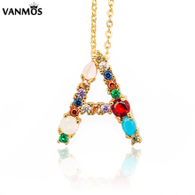 New Gold Color Initial Name Colorful Crystal Letter Pendant Necklace Women Personality Personalized for Female Gift