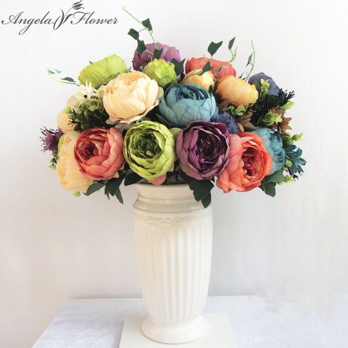 European bouquet artificial vivid peony silk flowers fake for Angela florist decoration
