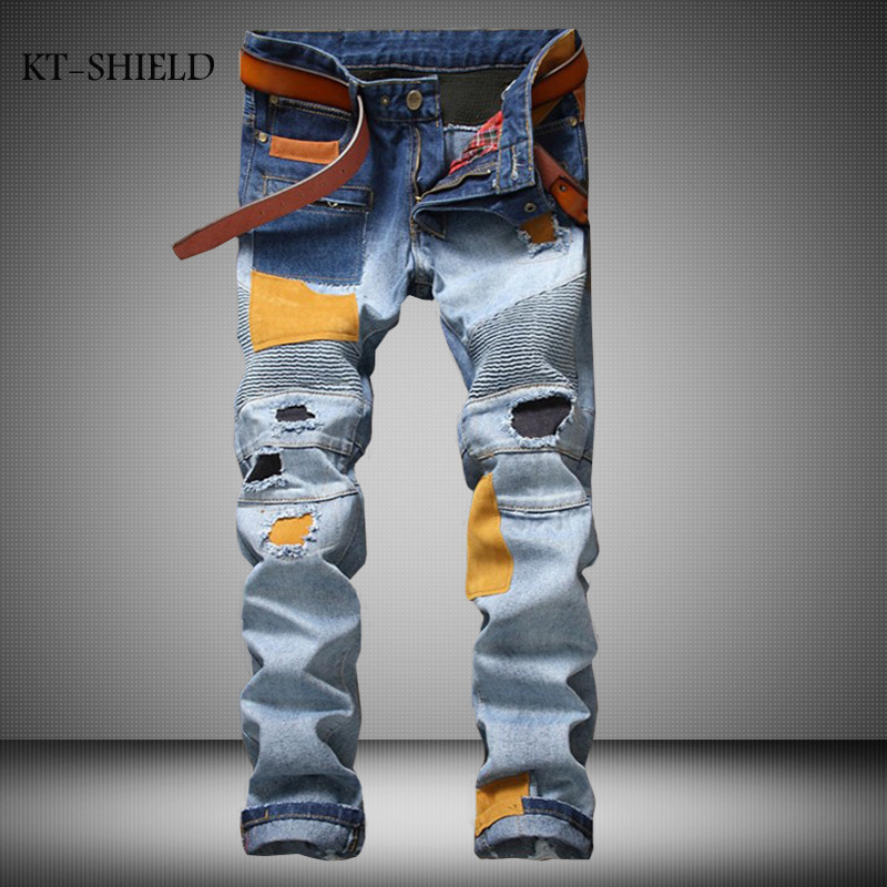 Personality Patchowrk Biker jeans New Designer Slim Jeans Men High Quality Hip Hop Ripped Jeans Pants