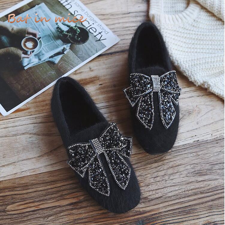 Autumn Winter Women casual Ballet Flats shoes women Comfort Square Toe Bow warm fur snow Slip-On Boat Shoes mujer Zapatos W643 aphixta loafers women flats heel shoes warm fur winter round toe female ladies casual slip on zapatos de mujer shoes plus size