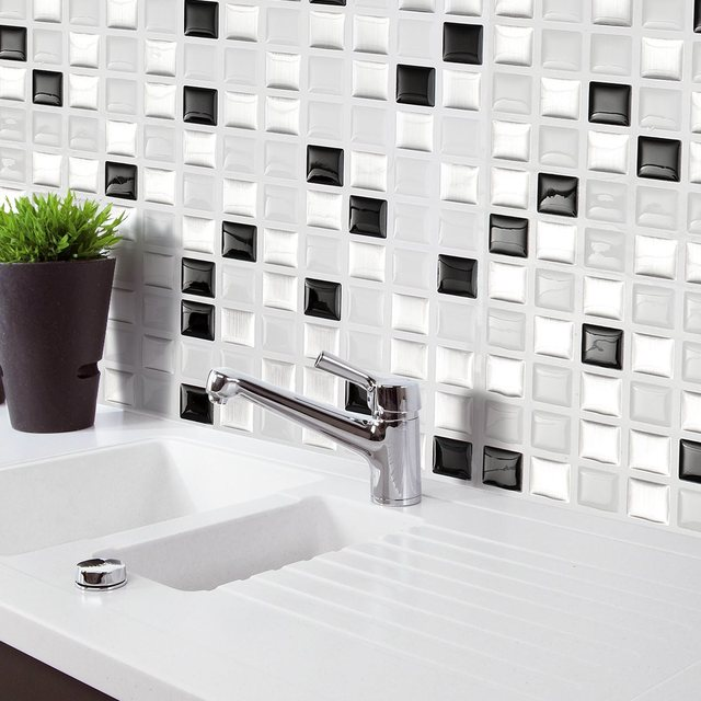 Brick M osaic Kitchen Bathroom Foil Beauty 3D Wallpaper Sticker Tile ...