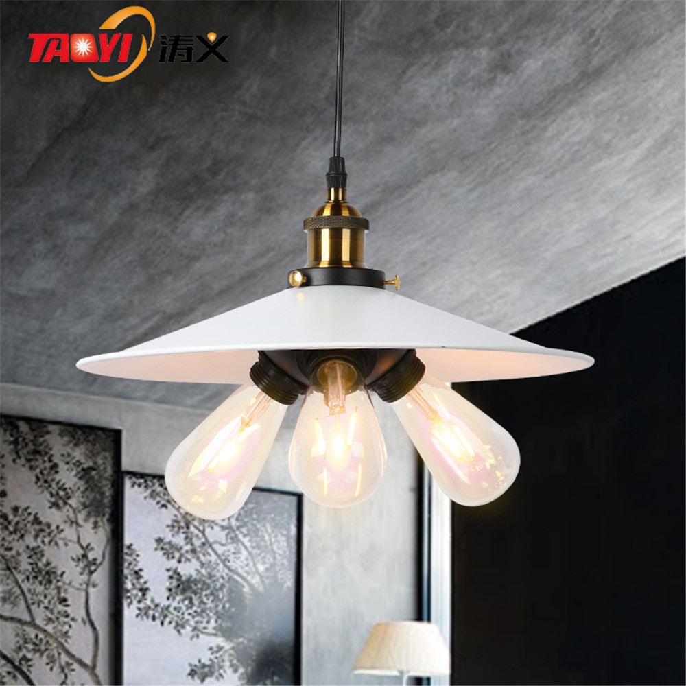 White triangle light holder modern loft industrial pendant lamps for E27 bulb modern 3 color adjustable triangle
