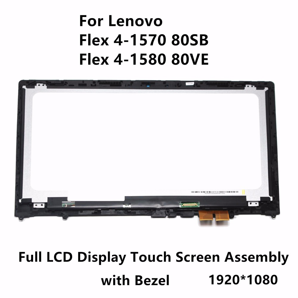 15.6'' FHD For Lenovo Flex 4-1570 80SB Flex 4-1580 80VE Laptop Touch Glass Panel Digitizer + LCD Screen Display Assembly+ Frame new for lenovo s780 lcd display touchscreen digitizer assembly original replacement with free tools in stock tempered glass