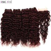Индийские пряди красных волос 4 бордовые пучки с закрытием Shiningstar волна воды пучки с закрытием человеческих волос для наращивания не Реми