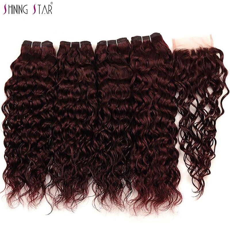 Indyjski rude włosy wyplata 4 bordowy wiązki z zamknięciem Shiningstar Water Wave wiązki z zamknięciem doczepy z ludzkich włosów Nonremy w 3/4 pasma z siateczką od Przedłużanie włosów i peruki na AliExpress - 11.11_Double 11Singles' Day 1