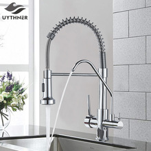 Mixer Tap Kitchen-Faucets Crane Water-Purification Deck-Mounted Rotation Dual-Handle
