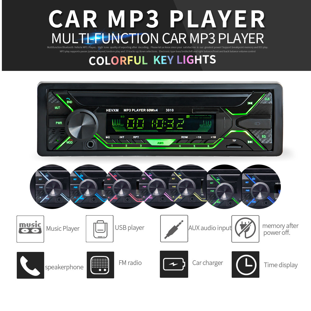 12V 1 DIN In-Dash Bluetooth 7 Color Light Car FM Radio Stereo MP3 Audio Player Support SD USB MP3 Aux Input with Remote Control