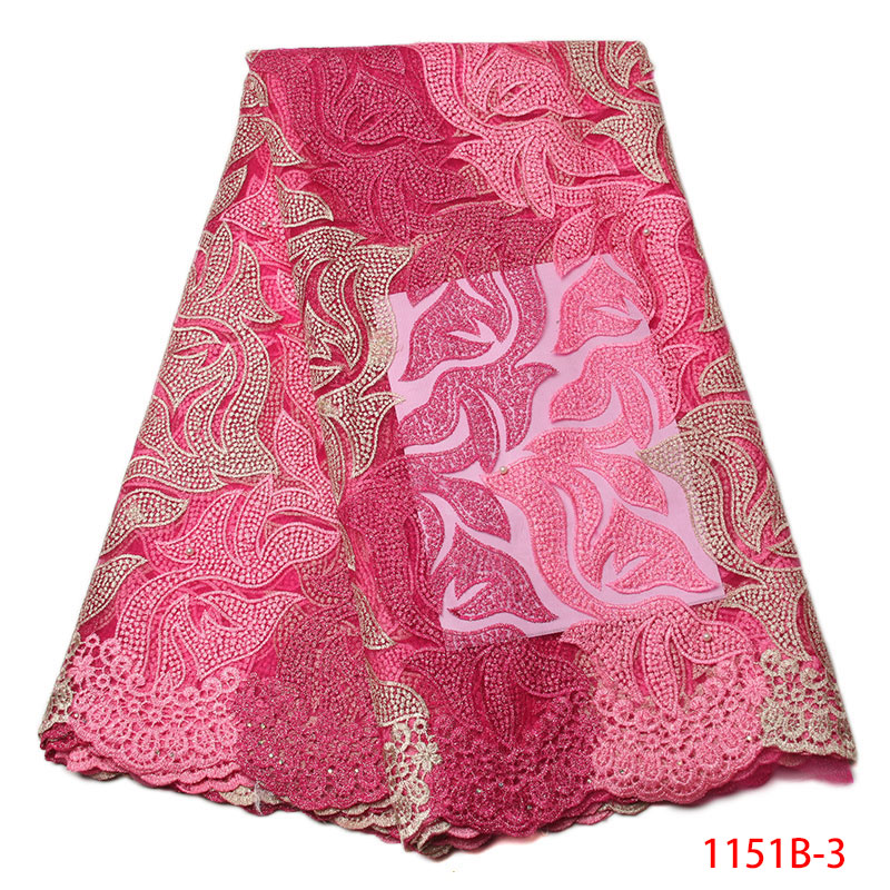 Hot Sale African French Lace Fabric High Quality Embroidered Baby Pink Tulle Nigeria Net Guipure Cord Lace Party Dress GD1151B-3