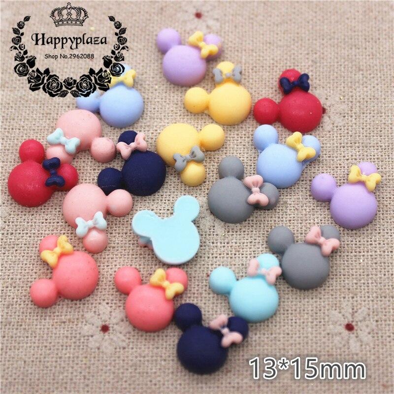 50PCS Mix Colors Cute Resin Small Mickey Flat Back Cabochon DIY Jewelry/Craft Scrapbook Decoration,13*15mm