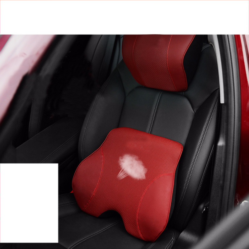 Lsrtw2017 Genuine Leather Car Headrest Waist Pillow For
