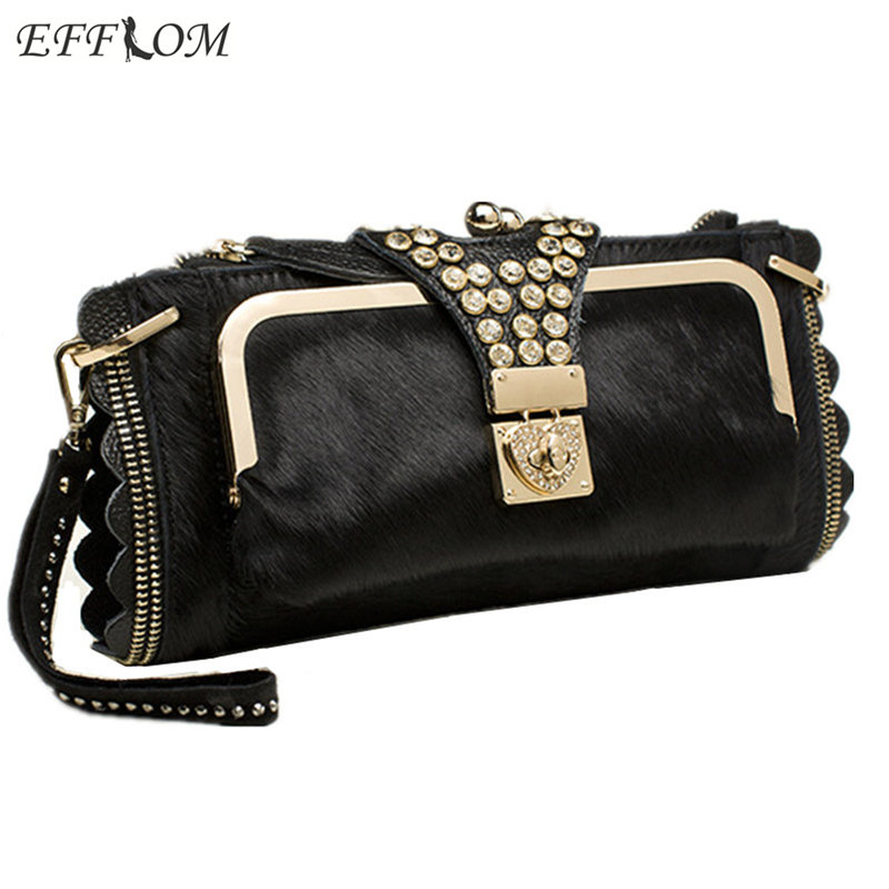 Women Evening Crystal Clutch Bags Horsehair Genuine Leather Clutches Ladies Party Hand Bags Chain Shoulder Crossbody Bags Female 1