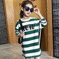 Осенние девушки футболка мода детская одежда для девочек с длинным рукавом в полоску футболка случайные длинные девочек-подростков топы DQ204