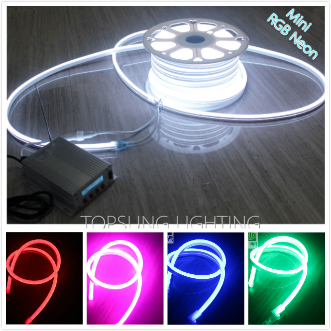 50M (164) Spool 220V Neon Soft Tube UV Resistance Mini 11x18mm Rope Waterproof RGB LED Flex Neon Signs Indoor Outdoor Lighting ...