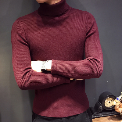 Turtleneck Pullover Men Clothes Long Sleeve Sweater Slim Fit Casual Man Sweaters Solid Color Wine Red Plus Size 3XL 2018 New