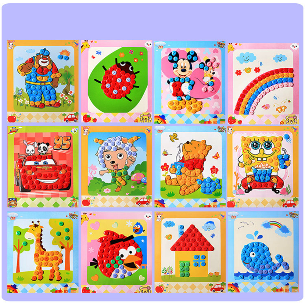 Basic & Life Skills Toys Puzzle button training Learning & Education 12 pc/lot Button baby Stickers Handmade DIY Toy For Child