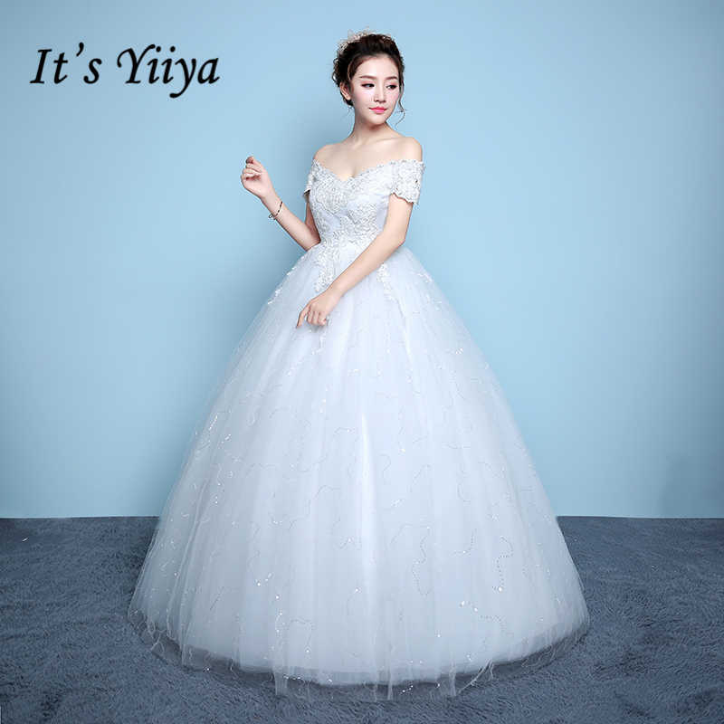 ca6f4c8f432b Detail Feedback Questions about It's YiiYa Off White Red New Sleeveless  Boat Neck Wedding Dresses Embroidery