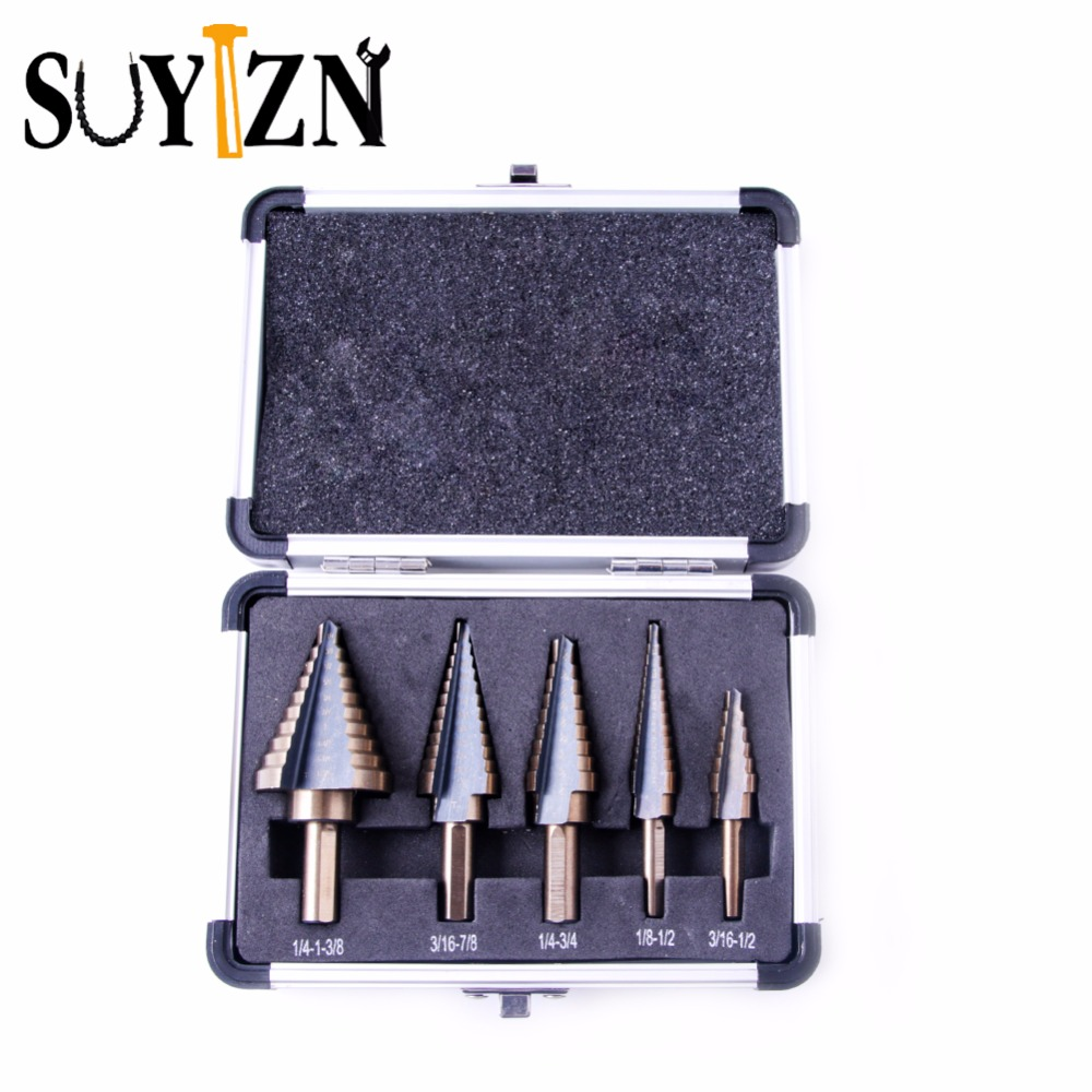 5Pcs Large Stepped Drill High Speed Steel Titanium Step Drill  Multiple Hole Cutter Drill Bit Set Tool With Case ZK207 5 in 1 high speed 5 blade steel 82 degrees rose reamers stepped drills black copper