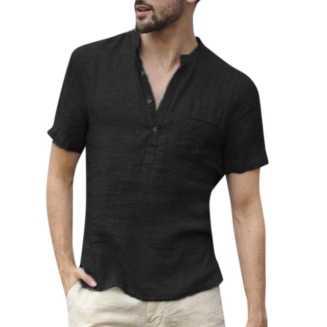 Plus Size T Shirt Men Summer 2019 Cotton Linen V Neck Short Sleeve Retro T Shirts Fitness Clothing Fashion Tshirt Men