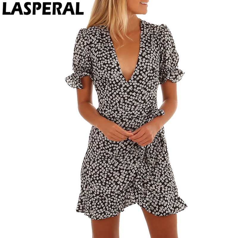 LASPERAL Polka Dot Print Summer Dress Beach Irregularities Sexy Dress Women Deep V Neck Short Sleeve Slim Chiffon Dress Vestidos