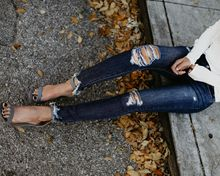 Женские джинсы-карандаш Брюки 2018 с средней талией Тонкие джинсы Женские хлопчатобумажные отверстия